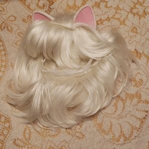 Anime Nekomimi White wig with cat ears Costume